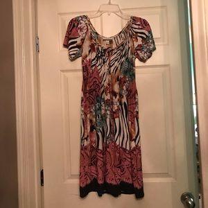 Floral zebra dress